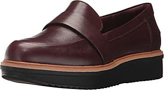 Clarks Womens Teadale Elsa Penny Loafers, Burgundy Leather, 10 M US