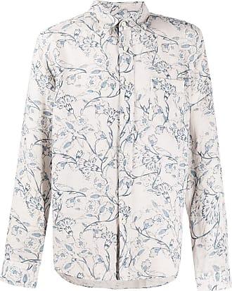 120% Lino Camisa com estampa floral - Cinza