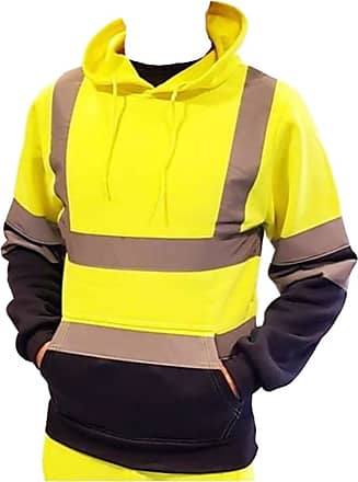 21Fashion Mens Hi Viz Visibility 2 Tone Pull Over Hoodie Top Adults Work Wear Reflective Tape Long Sleeve Safety Sweatshirt (Yellow/Navy Hoodie Top Small)