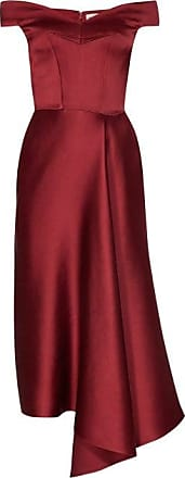 Alexander McQueen Alexander Mcqueen - Off-the-shoulder Silk-satin Midi Dress - Womens - Burgundy