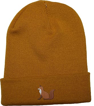 HippoWarehouse Fox Embroidered Beanie Hat Mustard