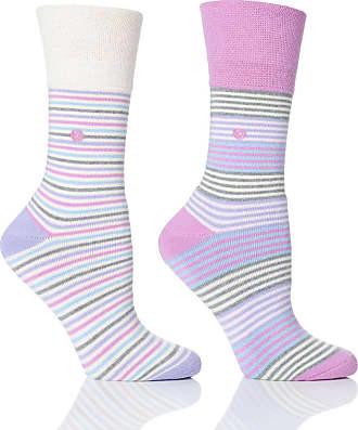 SockShop Womens Pink Stripe Cushion Foot Honeycombe Top Gentle Grip Sock By Sock Shop 2pk