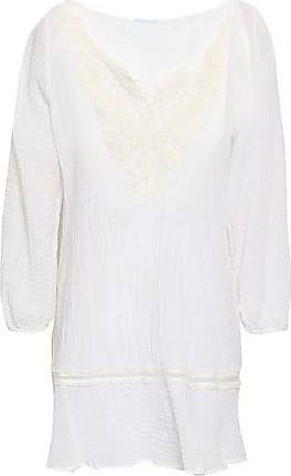 Eberjey Eberjey Woman Crochet-trimmed Crinkled Cotton-gauze Coverup White Size M/L