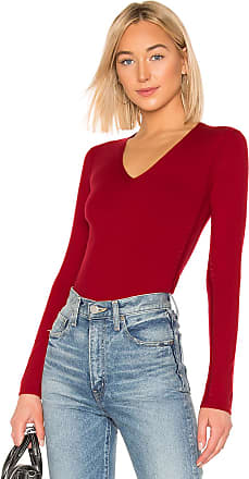 Theory Low V Neck Sweater in Red