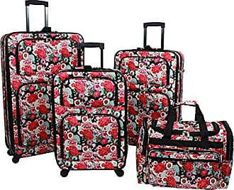 World Traveler 4-Piece Rolling Expandable Spinner Luggage Set, Floral