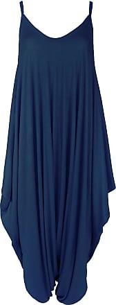 Be Jealous New Womens Ladies Cami Thin Strap Lagenlook Romper Baggy Harem Jumpsuit Playsuit Plus Size (UK 20/22) Navy - Comfy Harem Suit 3/4 Length Dress Strappy