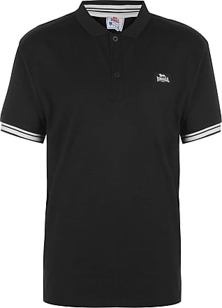 Lonsdale Mens Jersey Polo Shirt Classic Fit Tee Top Short Sleeve Button Placket Khaki/White M