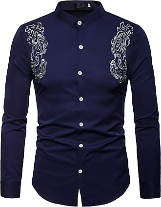 Whatlees Mens Solid Long Sleeve Slim Fit Embroidery Overlap Design Button Down Dress Shirt Navy 02010207XNavy+M