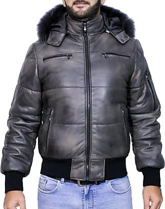 Leather Trend Italy Boston - Piumino Uomo in Vera Pelle colore Grigio Invecchiato