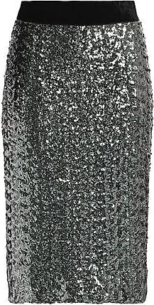 Milly Milly Woman Velvet-trimmed Sequined Mesh Skirt Silver Size 2