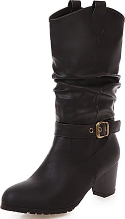Vimisaoi Wide Calf Boots for Women, Round Toe Block Mid Heel Pull On Chelsea Western Cowboy Cowgirl Boots
