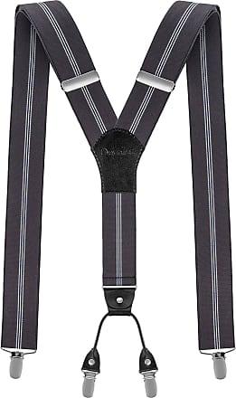 Decalen Mens braces wide adjustable and elastic suspenders Y shape 4 very strong clips - Smart Casual Menswear (Grey 9)