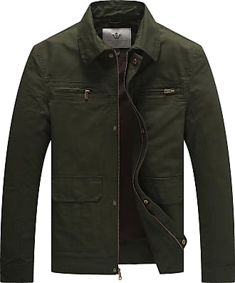WenVen Mens Casual Cotton Windbreaker Jacket Army Green Large