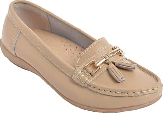 Chums Ladies Womens Leather Loafer Shoe Beige 4 UK