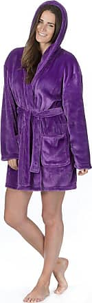 Forever Dreaming Ladies Plus Size Flannel Fleece Dressing Gown (Sizes 2XL-4XL) Hooded Bath Robe Purple
