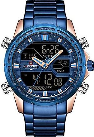 NAVIFORCE Relógio de Quartz à Prova dàgua com calendário e display NAVIFORCE-9138S - Azul - 60