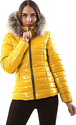 Love my Fashions Georgia Quilted Faux Fur Hooded Long Sleeve Padded Jacket Mustard Yellow