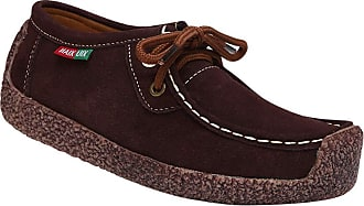 Daytwork Boat Shoes Loafers Moccasins - Girls Womens Ballet Flats Lace-up Breathable Driving Suede Leather Casual Work Flats Office Slip On Brown