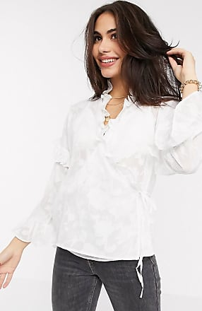 French Connection clarta fil coupe dvore wrap top-White