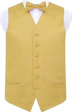DQT Plain Glossy Satin Wedding Waistcoat, Bow Tie & Pocket Square for Men + Free Cufflinks | Gold 50