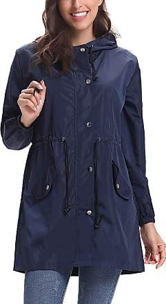 Abollria Waterproof Jackets Women Outdoor Lightweight Windbreaker Raincoat Hooded Rain Jacket Navy Blue