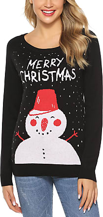 Aibrou Womens Christmas Snowman Sweater Long Sleeve Crew Neck Jumper Vintage Knitwear Xmas Pullover Sweater(3 Snowman Black,Mum XXL)