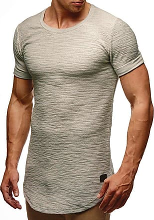 LEIF NELSON Mens T-Shirt Round Neck Collar LN-6324 Grey XX-Large