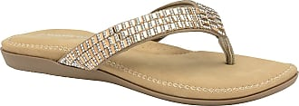 Dunlop Womens Flip Flops New Ladies Memory Foam Toe Post Slip On Beach Sandals (9 UK, Gold - Gems)