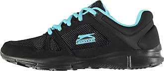 Slazenger Womens Force Mesh Running Shoes Runners Lace Up Padded Ankle Collar Black/Blue UK 5.5 (38.5)