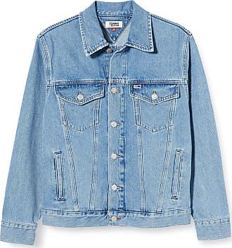 Tommy Jeans Mens Oversize Trucker Jacket TMYFLG, Blue (Tommy Flag Lt Bl Rig 1Aa), Large (Size:L)