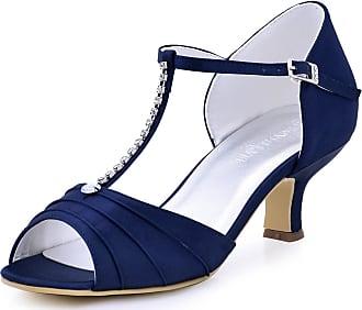 Elegantpark EL-035 Wedding Sandals for Bride Low Heel Bridal Shoes Women Peep Toe T-Strap Rhinestones Satin Bridal Party Sandals Navy Blue UK 9(EU 42)