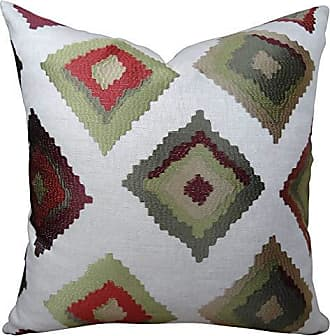 Plutus Brands Plutus Red Earth Native- Trail Handmade Throw Pillow, 16 x 16, White/Green
