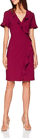French Connection Womens ALIANOR Stretch VNCK Frill DRS Dress, Pink (Baked Cherry), (Size:-10-)
