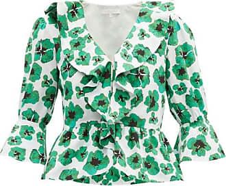 Borgo De Nor Poppy Floral-print Cotton-poplin Top - Womens - Green White