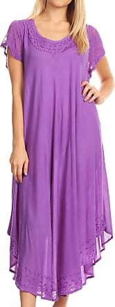 Sakkas 00931 Everyday Essentials Cap Sleeve Caftan Dress/Cover Up - Purple - One Size