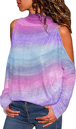 Yoins Women Cold Shoulder Turtle Neck Tops Long Sleeve Geometric Stripe Casual Loose Blouse Tee Pullover Tie Dye-Blue Purple XL