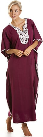 Camille Womens Ladies Embroidered Long Length Burgundy Kaftan Loungewear One Size O/S
