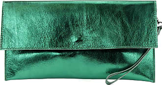 modamoda.de Modamoda de - ital. Leather Bag Clutch Underarm Bag Evening Bag Leather Metallic M106-151, Colour:M151 Dark Green Metallic