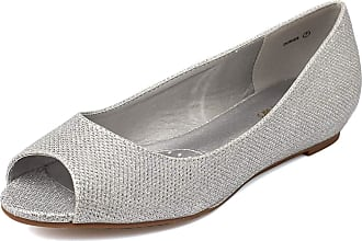 Dream Pairs Dories Womens Peep Toe Ballet Slip On Flats Shoes Silver Glitter Size 9.5 US/7.5 UK