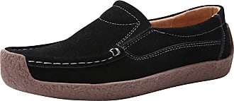 Daytwork Womens Shoes Flat Loafers Mocassins - Women Casual Peas Shoes Slip-On Driving Boat Shoes Closed Toe Low Heel Pumps Solid Color Black