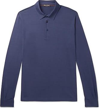 Loro Piana Silk And Cotton-blend Jersey Polo Shirt - Blue