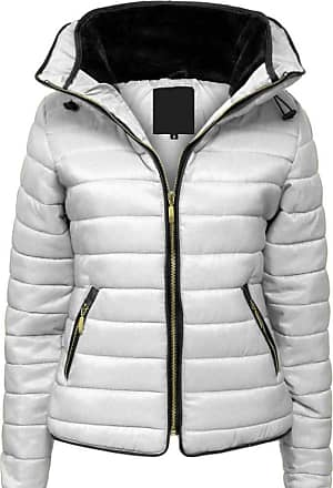 Parsa Fashions Malaika Ladies Quilted Padded Puffer Bubble Fur Collar Warm Thick Womens Jacket Coat - Avaiable in PLUS SIZES (Extra Small to XXL) (XXL, Silver Grey)