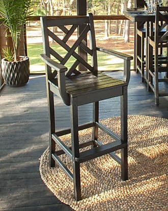 POLYWOOD Outdoor POLYWOOD Chippendale Bar Height Arm Chair Slate Grey, Patio Furniture - CDD202GY