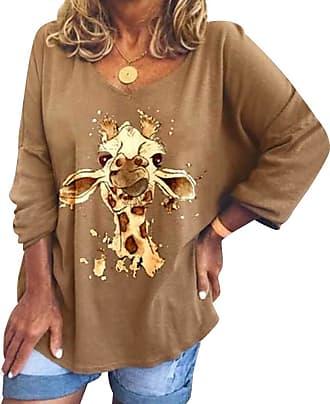 Dresswel Women Giraffe Graphic Print T Shirt V Neck Long Sleeve Tops Pullover Blouse Ladies Jumpers Khaki