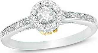 Zales 1/3 CT. T.w. Diamond Frame Flower Engagement Ring in Sterling Silver and 10K Gold
