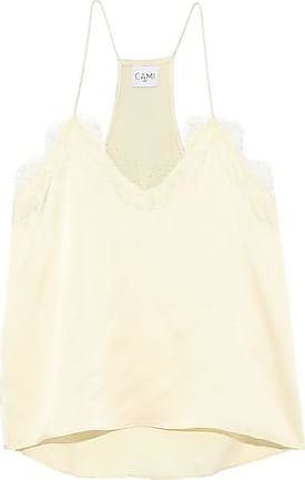 Cami NYC Cami Nyc Woman The Racer Lace-trimmed Silk-charmeuse Camisole Pastel Yellow Size XL