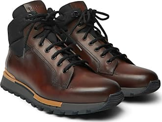 Berluti Fast Track Leather And Jacquard-shell Hiking Boots - Brown