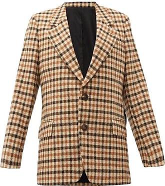 Ami Ami - Single-breasted Checked Wool Blazer - Womens - Brown Multi