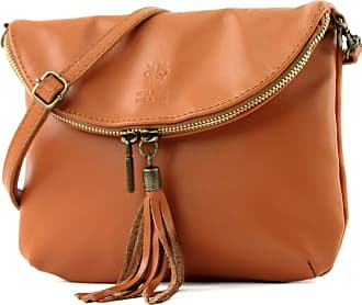modamoda.de Ital. Leather Bag Clutch Shoulder Bag Underarm Bag Shoulder Bag Girl Small nappa leather T07, Colour:cognac