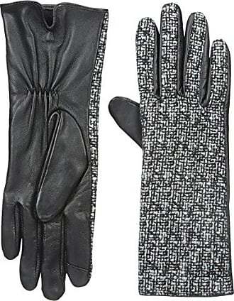 Adrienne Vittadini Womens Fashion Bouclé Leather Touchscreen Gloves, Black/White Small